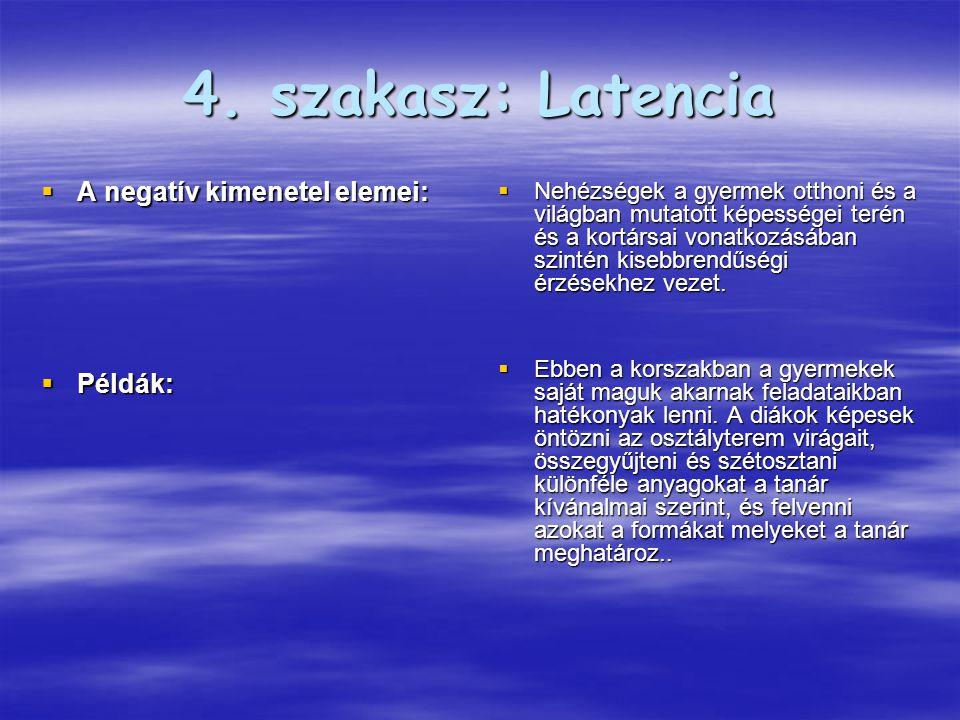 4. szakasz: Latencia  A negatív kimenetel elemei:  Példák:  Nehézségek a gyermek otthoni és a világban mutatott képességei terén és a kortársai von