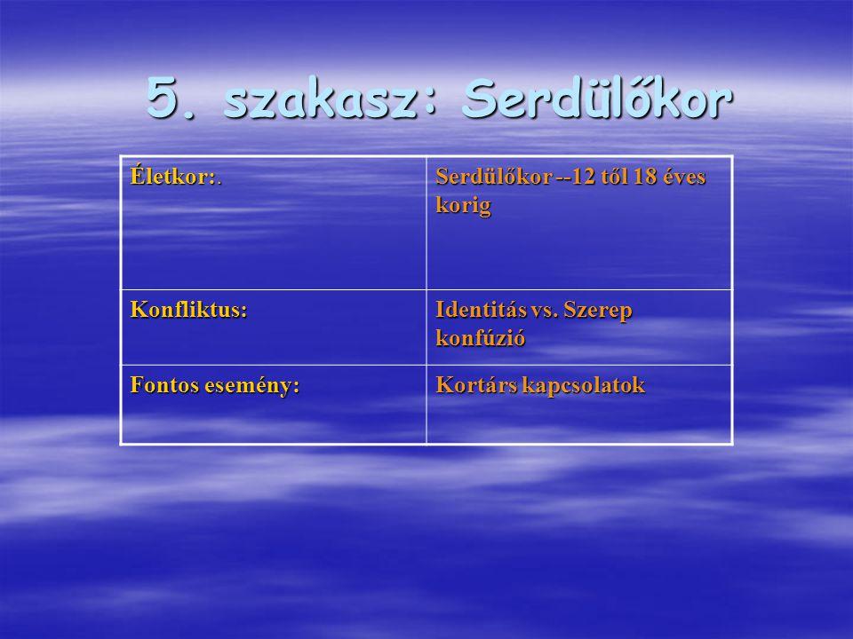 Életkor:. Serdülőkor --12 től 18 éves korig Konfliktus: Identitás vs. Szerep konfúzió Fontos esemény: Kortárs kapcsolatok 5. szakasz: Serdülőkor