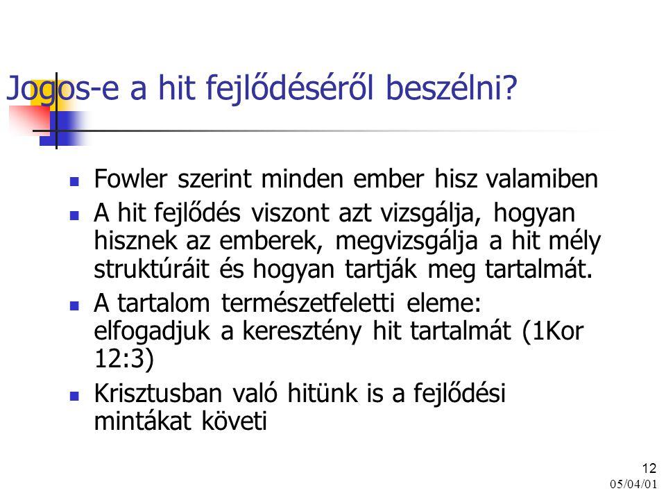 05/04/01 12 Jogos-e a hit fejlődéséről beszélni? Fowler szerint minden ember hisz valamiben A hit fejlődés viszont azt vizsgálja, hogyan hisznek az em