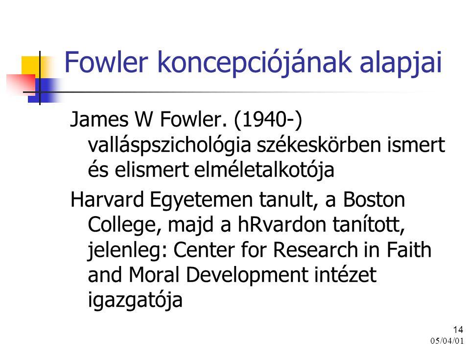 05/04/01 14 Fowler koncepciójának alapjai James W Fowler. (1940-) valláspszichológia székeskörben ismert és elismert elméletalkotója Harvard Egyetemen