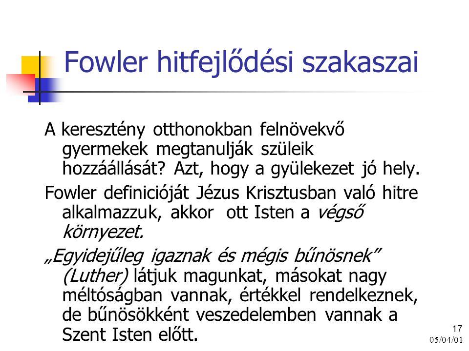 05/04/01 17 Fowler hitfejlődési szakaszai A keresztény otthonokban felnövekvő gyermekek megtanulják szüleik hozzáállását? Azt, hogy a gyülekezet jó he