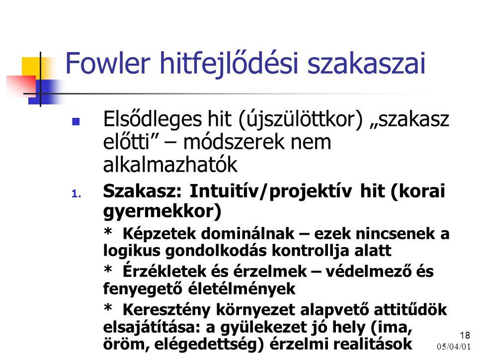 """05/04/01 18 Fowler hitfejlődési szakaszai Elsődleges hit (újszülöttkor) """"szakasz előtti"""" – módszerek nem alkalmazhatók 1. Szakasz: Intuitív/projektív"""