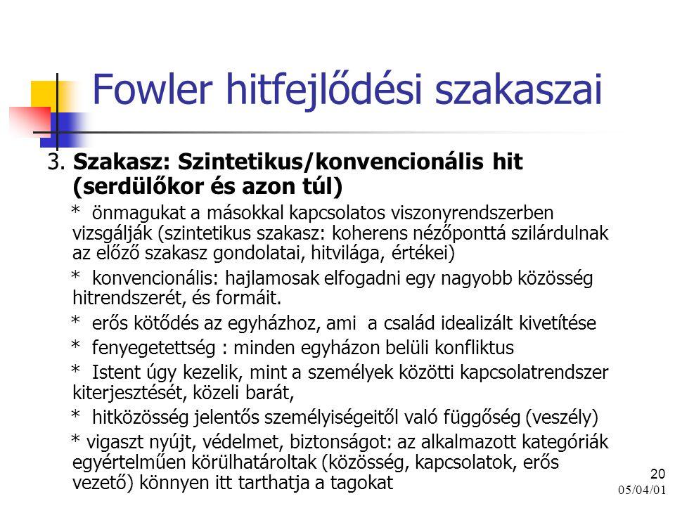05/04/01 20 Fowler hitfejlődési szakaszai 3. Szakasz: Szintetikus/konvencionális hit (serdülőkor és azon túl) * önmagukat a másokkal kapcsolatos viszo