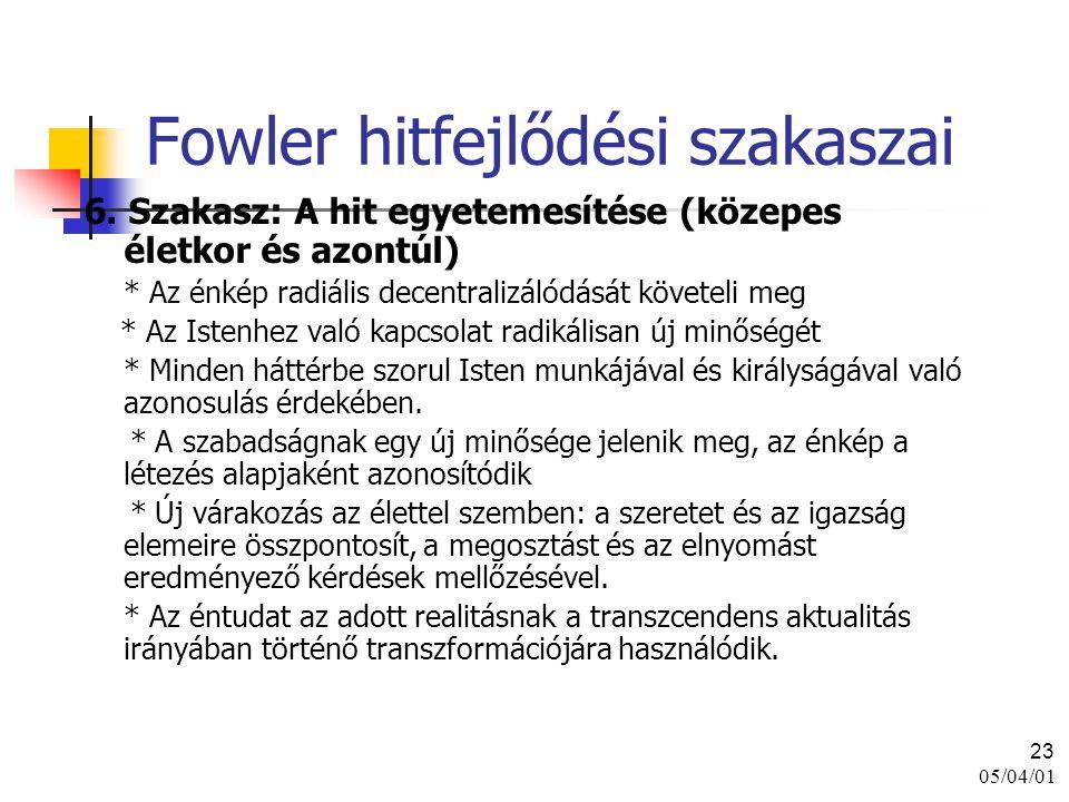 05/04/01 23 Fowler hitfejlődési szakaszai 6. Szakasz: A hit egyetemesítése (közepes életkor és azontúl) * Az énkép radiális decentralizálódását követe