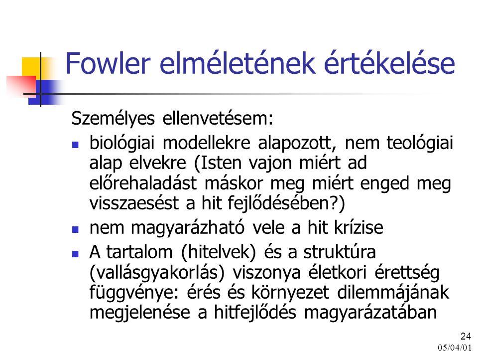 05/04/01 24 Fowler elméletének értékelése Személyes ellenvetésem: biológiai modellekre alapozott, nem teológiai alap elvekre (Isten vajon miért ad elő
