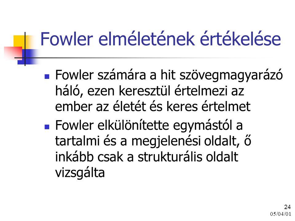 05/04/01 24 Fowler elméletének értékelése Fowler számára a hit szövegmagyarázó háló, ezen keresztül értelmezi az ember az életét és keres értelmet Fow