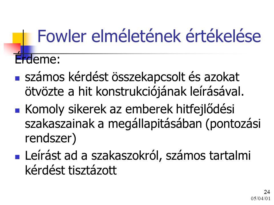 05/04/01 24 Fowler elméletének értékelése Érdeme: számos kérdést összekapcsolt és azokat ötvözte a hit konstrukciójának leírásával. Komoly sikerek az