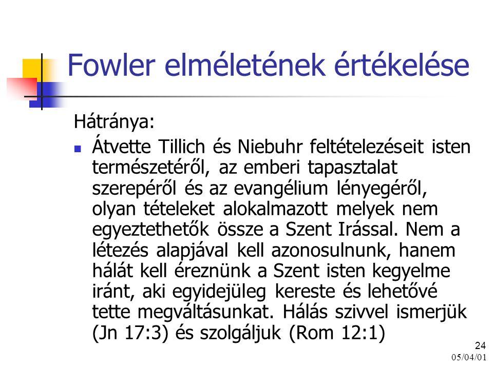 05/04/01 24 Fowler elméletének értékelése Hátránya: Átvette Tillich és Niebuhr feltételezéseit isten természetéről, az emberi tapasztalat szerepéről é