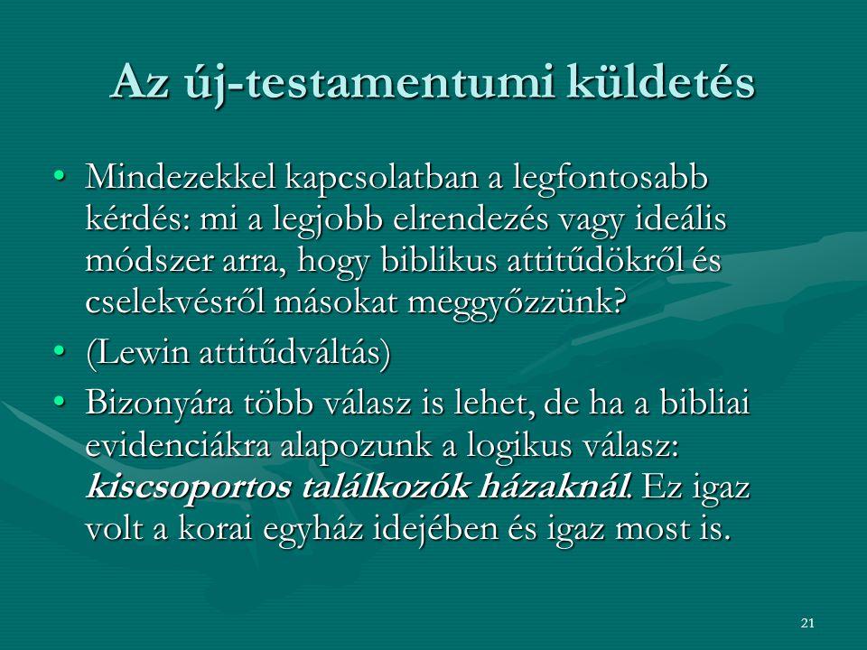 21 Az új-testamentumi küldetés Mindezekkel kapcsolatban a legfontosabb kérdés: mi a legjobb elrendezés vagy ideális módszer arra, hogy biblikus attitű