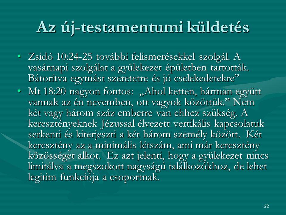 22 Az új-testamentumi küldetés Zsidó 10:24-25 további felismerésekkel szolgál. A vasárnapi szolgálat a gyülekezet épületben tartották. Bátorítva egymá