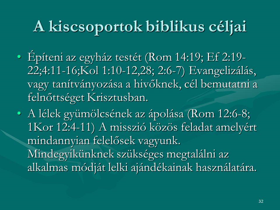 32 A kiscsoportok biblikus céljai Építeni az egyház testét (Rom 14:19; Ef 2:19- 22;4:11-16;Kol 1:10-12,28; 2:6-7) Evangelizálás, vagy tanítványozása a