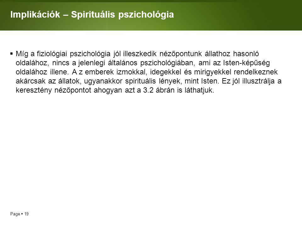 Page  19 Implikációk – Spirituális pszichológia  Míg a fiziológiai pszichológia jól illeszkedik nézőpontunk állathoz hasonló oldalához, nincs a jelenlegi általános pszichológiában, ami az Isten-képűség oldalához illene.