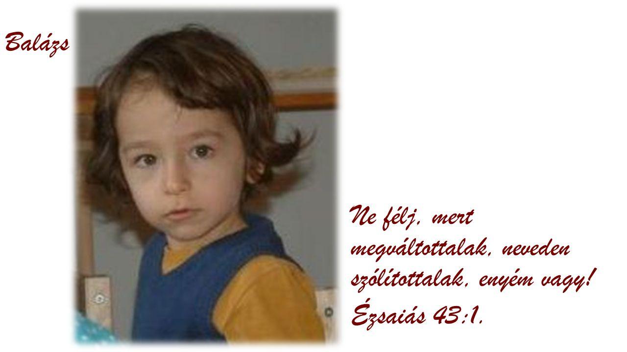 Balázs Ne félj, mert megváltottalak, neveden szólítottalak, enyém vagy! Ézsaiás 43:1.