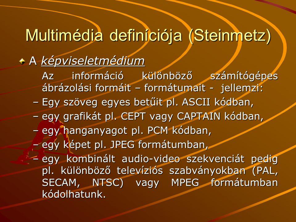 Multimédia definíciója (Steinmetz) A képviseletmédium Az információ különböző számítógépes ábrázolási formáit – formátumait - jellemzi: –Egy szöveg egyes betűit pl.