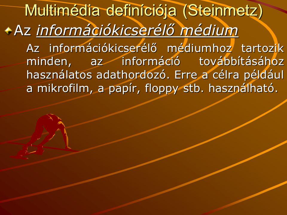Multimédia definíciója (Steinmetz) Az információkicserélő médium Az információkicserélő médiumhoz tartozik minden, az információ továbbításához használatos adathordozó.