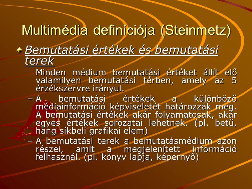 Multimédia definíciója (Steinmetz) Bemutatási értékek és bemutatási terek Minden médium bemutatási értéket állít elő valamilyen bemutatási térben, amely az 5 érzékszervre irányul.