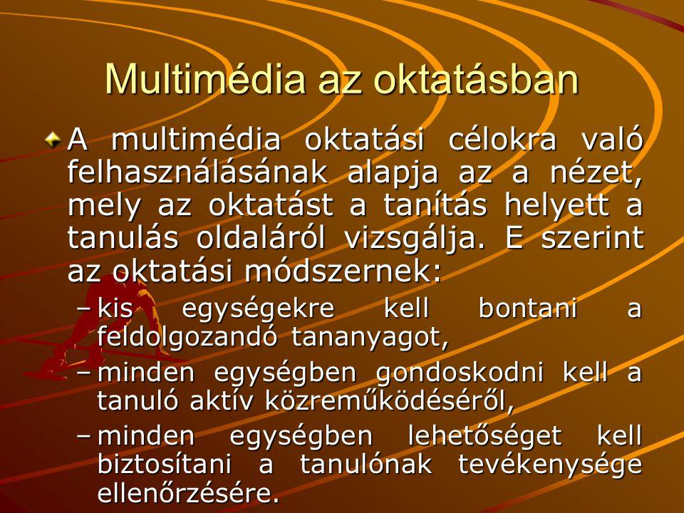Multimédia az oktatásban Egy multimédiás oktatószoftverrel kapcsolatban számos kérdés merülhet fel, mind a felhasználó, mind a fejlesztő fejében.
