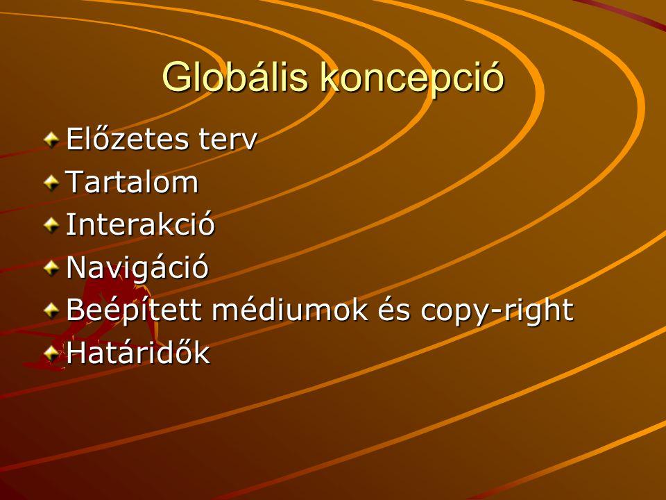 Globális koncepció Előzetes terv TartalomInterakcióNavigáció Beépített médiumok és copy-right Határidők