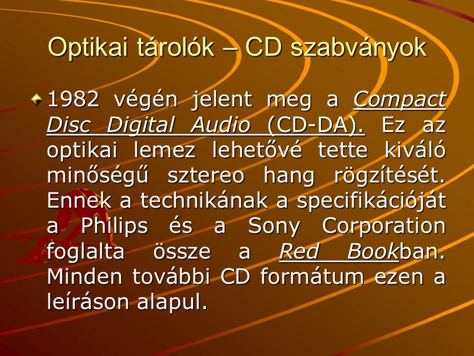 Optikai tárolók – CD szabványok 1982 végén jelent meg a Compact Disc Digital Audio (CD-DA).