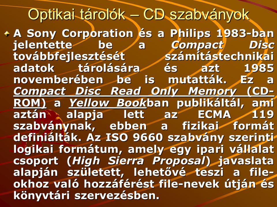 Optikai tárolók – CD szabványok A Sony Corporation és a Philips 1983-ban jelentette be a Compact Disc továbbfejlesztését számítástechnikai adatok tárolására és azt 1985 novemberében be is mutatták.