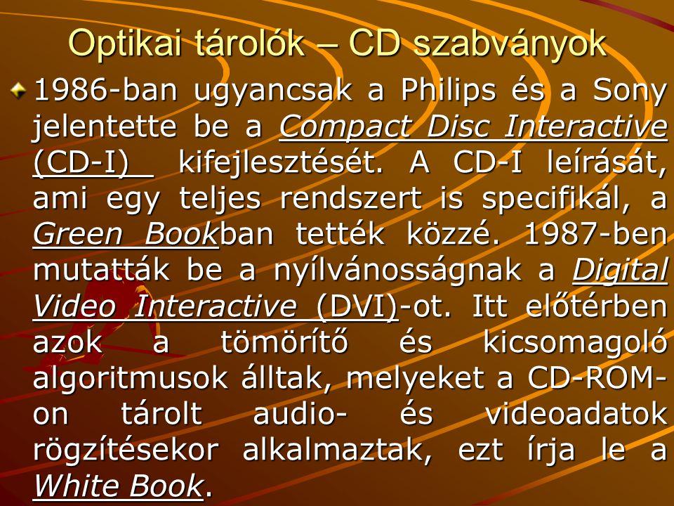 Optikai tárolók – CD szabványok 1986-ban ugyancsak a Philips és a Sony jelentette be a Compact Disc Interactive (CD-I) kifejlesztését.