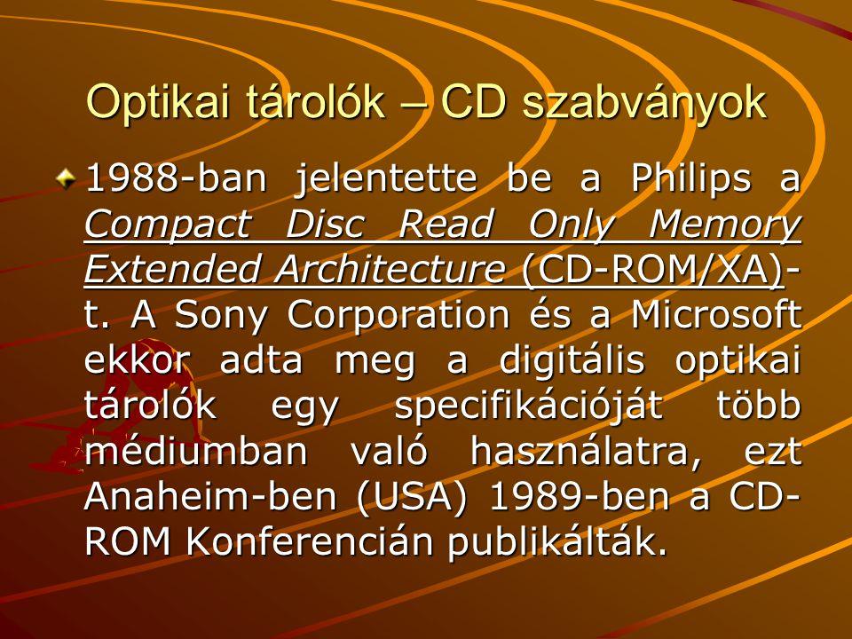 Optikai tárolók – CD szabványok 1990 kezdete óta ismertek azok a fejlesztések, melyek az egyszer írható Compact Disc Write Once (CD- WO) és a többször írható Compact Disc Magneto Optical (CD-MO) néven ismeretesek.