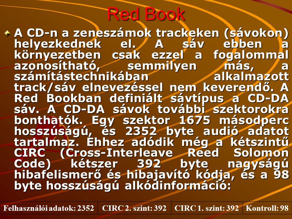 Red Book CD-DA (Compact Disc Digital Audio) –Legelterjedtebb a 120 mm-es változata, amely 76-79 perc hosszúságú, 44.1 kHz * 16 bit felbontású sztereó információt képes tárolni.
