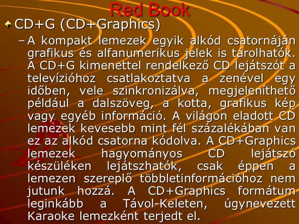 Red Book CD+G (CD+Graphics) –A kompakt lemezek egyik alkód csatornáján grafikus és alfanumerikus jelek is tárolhatók.