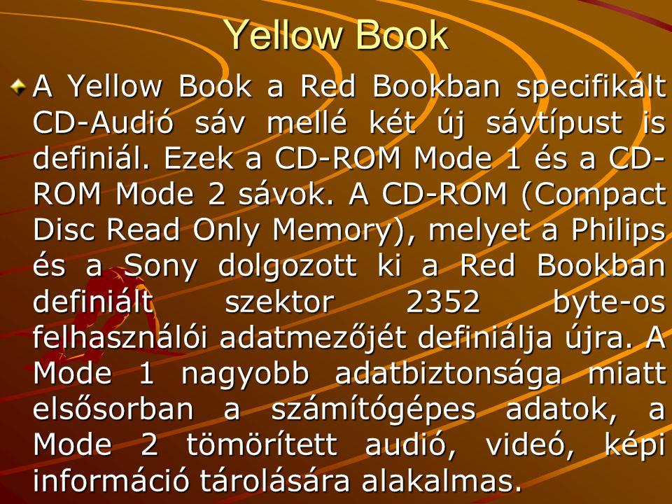 Yellow Book Szin- kron 12 Cím -ke 4 Felhasz -nálói adatok 2048 EDC kód 4 Üres 8 ECC 276 CIR C 2.