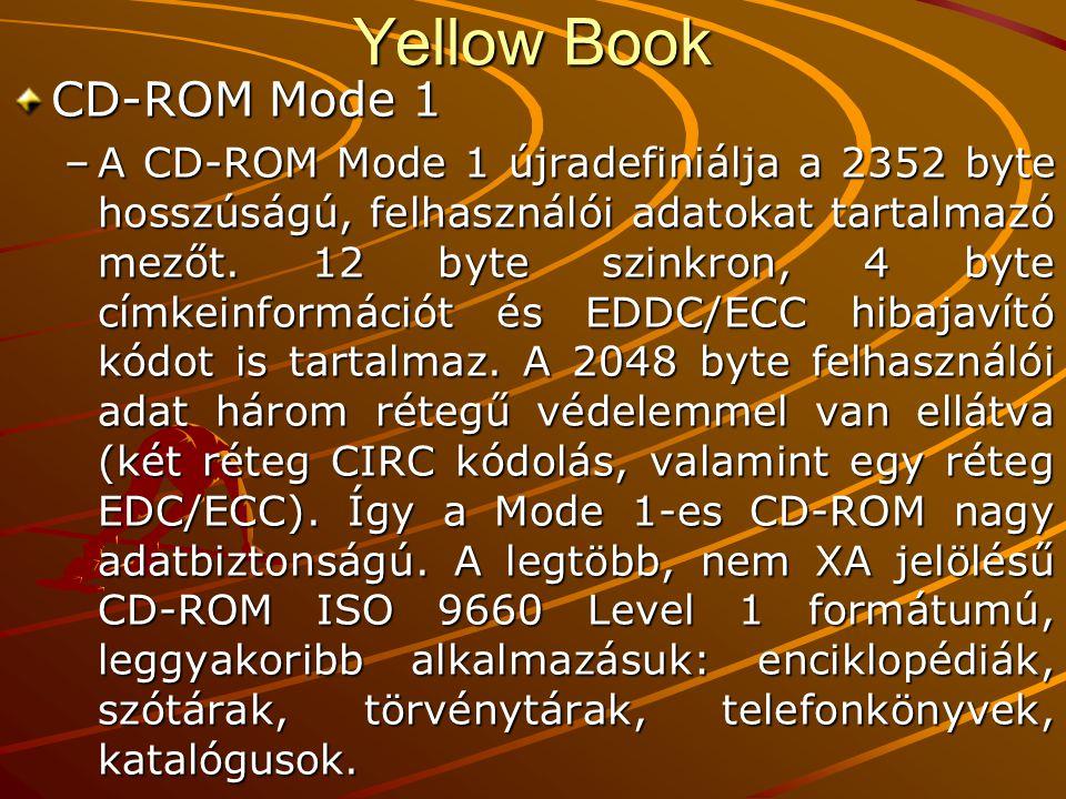 Yellow Book CD-ROM Mode 1 –A CD-ROM Mode 1 újradefiniálja a 2352 byte hosszúságú, felhasználói adatokat tartalmazó mezőt.