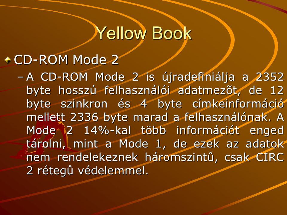 Yellow Book CD-ROM Mode 2 –A CD-ROM Mode 2 is újradefiniálja a 2352 byte hosszú felhasználói adatmezõt, de 12 byte szinkron és 4 byte címkeinformáció mellett 2336 byte marad a felhasználónak.