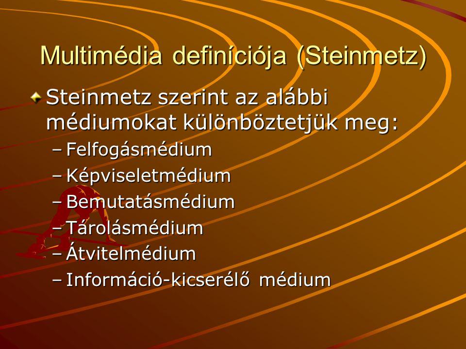 Multimédia definíciója (Steinmetz) Steinmetz szerint az alábbi médiumokat különböztetjük meg: –Felfogásmédium –Képviseletmédium –Bemutatásmédium –Tárolásmédium –Átvitelmédium –Információ-kicserélő médium