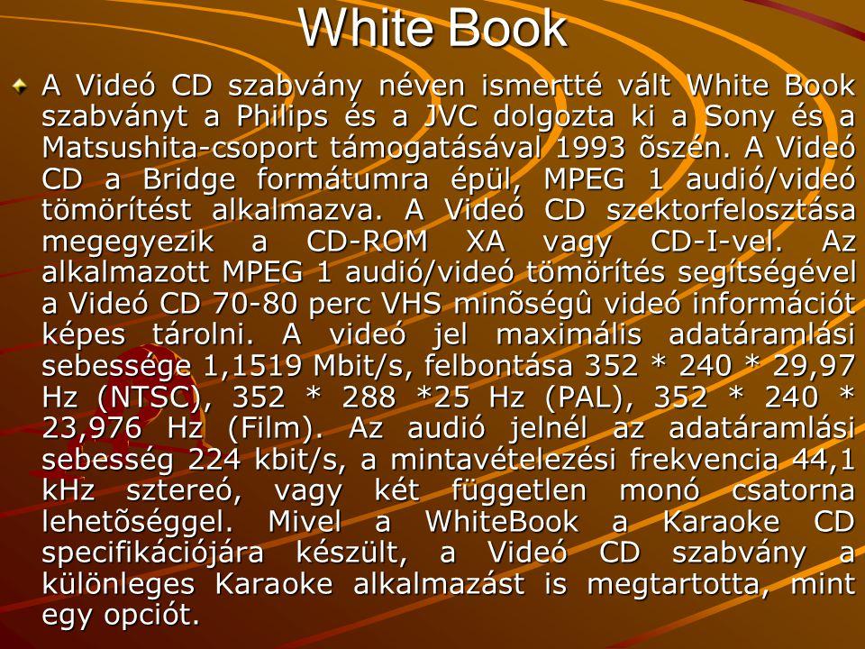 White Book A Videó CD szabvány néven ismertté vált White Book szabványt a Philips és a JVC dolgozta ki a Sony és a Matsushita-csoport támogatásával 1993 õszén.