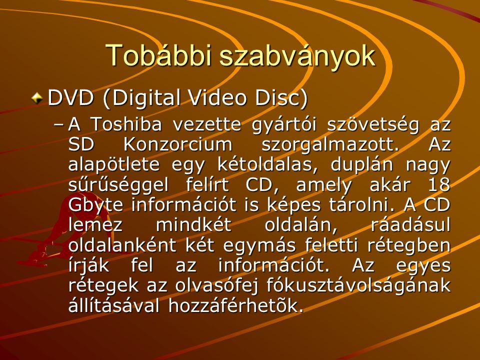 DVD formátumok DVD 5 egyoldalas egyrétegű (4,7 GB) DVD 9 egyoldalas kétrétegű (8,5 GB) DVD 10 kétoldalas egyrétegű (9,4 GB) DVD 17 kétoldalas kétrétegű (17 GB) +, - szabványok