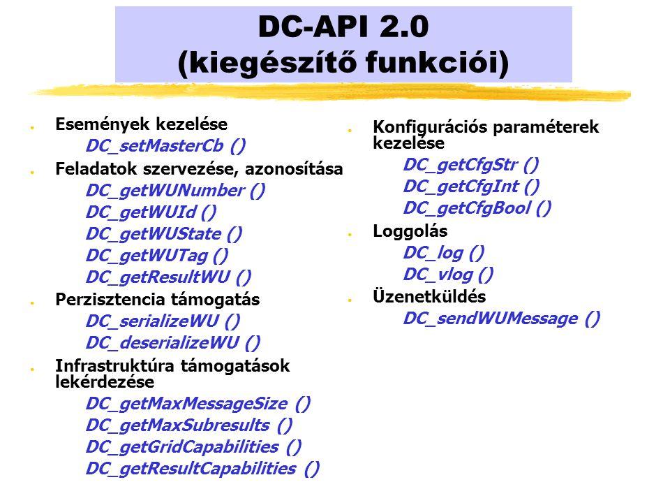 DC-API 2.0 (kiegészítő funkciói) ● Események kezelése DC_setMasterCb () ● Feladatok szervezése, azonosítása DC_getWUNumber () DC_getWUId () DC_getWUState () DC_getWUTag () DC_getResultWU () ● Perzisztencia támogatás DC_serializeWU () DC_deserializeWU () ● Infrastruktúra támogatások lekérdezése DC_getMaxMessageSize () DC_getMaxSubresults () DC_getGridCapabilities () DC_getResultCapabilities () ● Konfigurációs paraméterek kezelése DC_getCfgStr () DC_getCfgInt () DC_getCfgBool () ● Loggolás DC_log () DC_vlog () ● Üzenetküldés DC_sendWUMessage ()