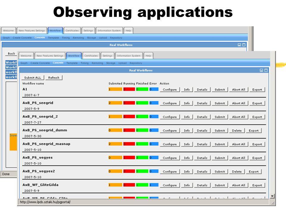 Observing applications