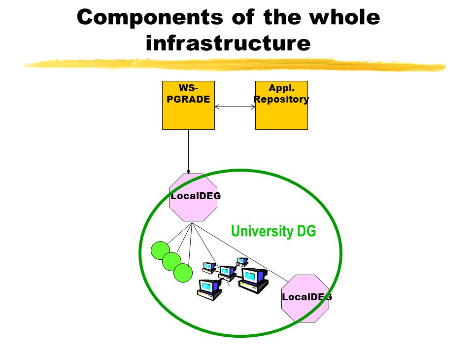 Components of the whole infrastructure LocalDEG University DG WS- PGRADE Appl. Repository