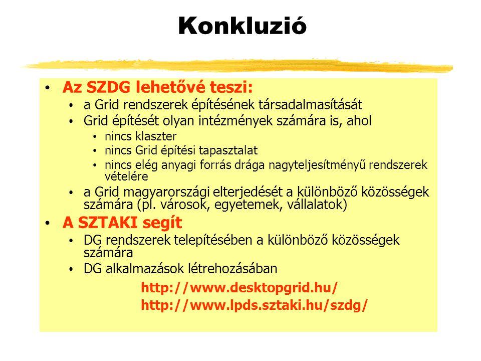 Konkluzió Az SZDG lehetővé teszi: a Grid rendszerek építésének társadalmasítását Grid építését olyan intézmények számára is, ahol nincs klaszter nincs Grid építési tapasztalat nincs elég anyagi forrás drága nagyteljesítményű rendszerek vételére a Grid magyarországi elterjedését a különböző közösségek számára (pl.