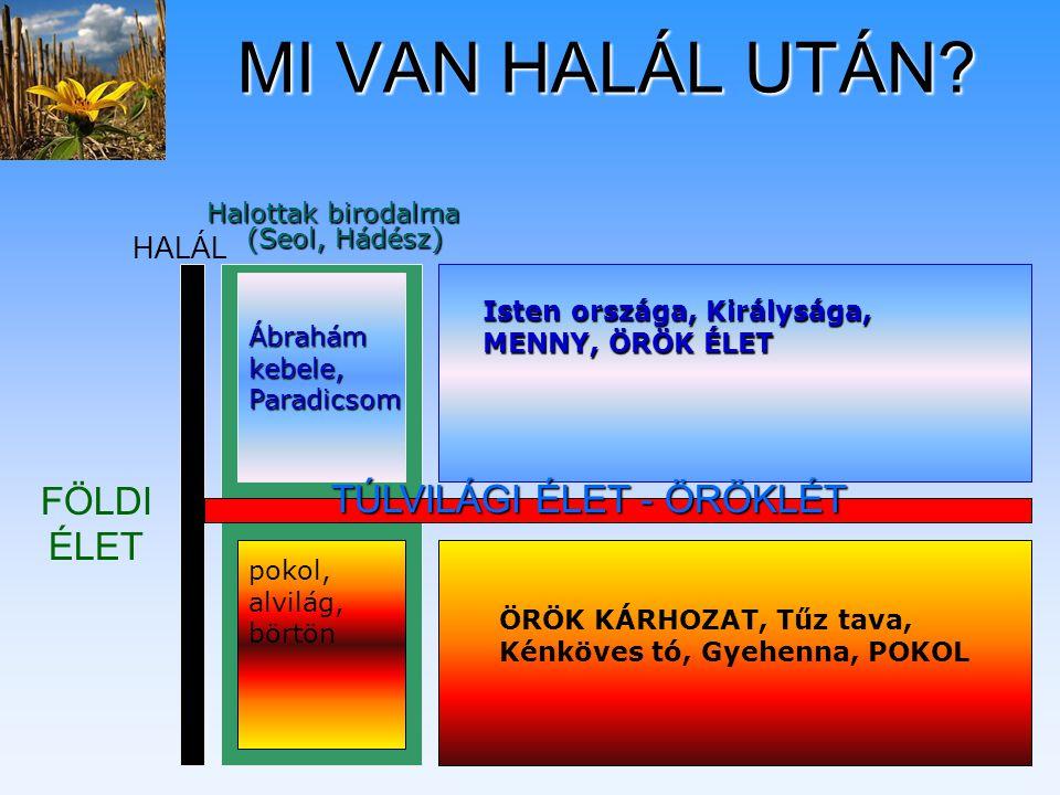 MI VAN HALÁL UTÁN? Halottak birodalma (Seol, Hádész) FÖLDI ÉLET TÚLVILÁGI ÉLET - ÖRÖKLÉT Ábrahám kebele, Paradicsom Isten országa, Királysága, MENNY,