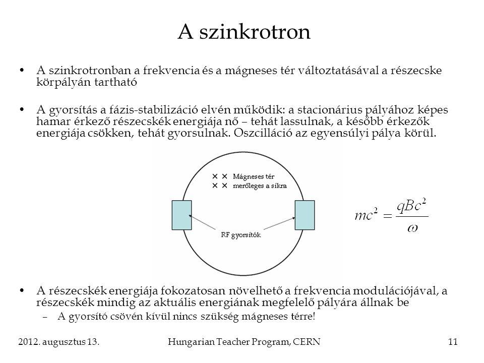 2012. augusztus 13.Hungarian Teacher Program, CERN11 A szinkrotronban a frekvencia és a mágneses tér változtatásával a részecske körpályán tartható A