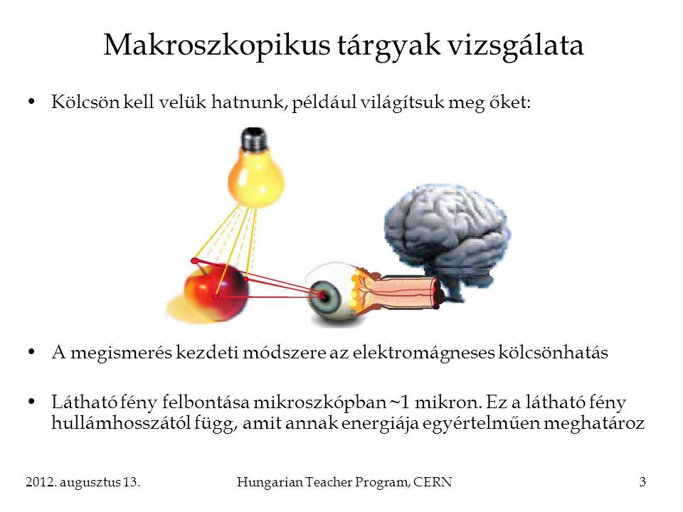 2012. augusztus 13.Hungarian Teacher Program, CERN3 Makroszkopikus tárgyak vizsgálata Kölcsön kell velük hatnunk, például világítsuk meg őket: A megis