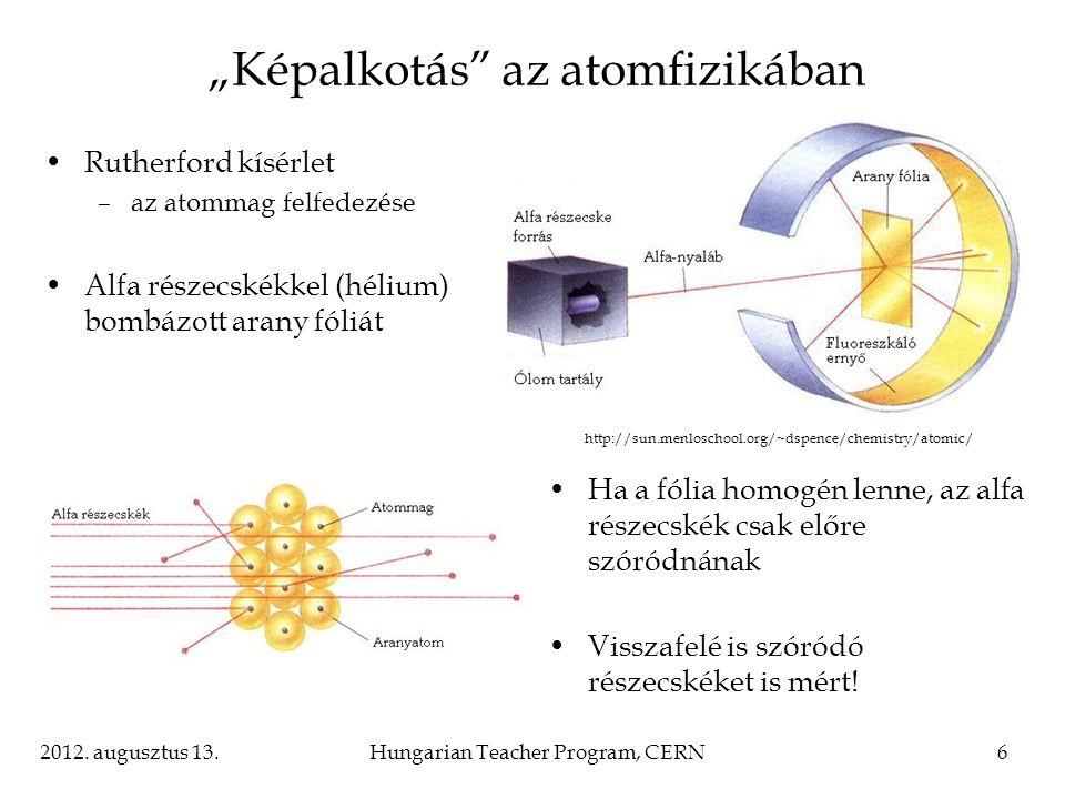 """2012. augusztus 13.Hungarian Teacher Program, CERN6 """"Képalkotás"""" az atomfizikában Rutherford kísérlet –az atommag felfedezése Alfa részecskékkel (héli"""