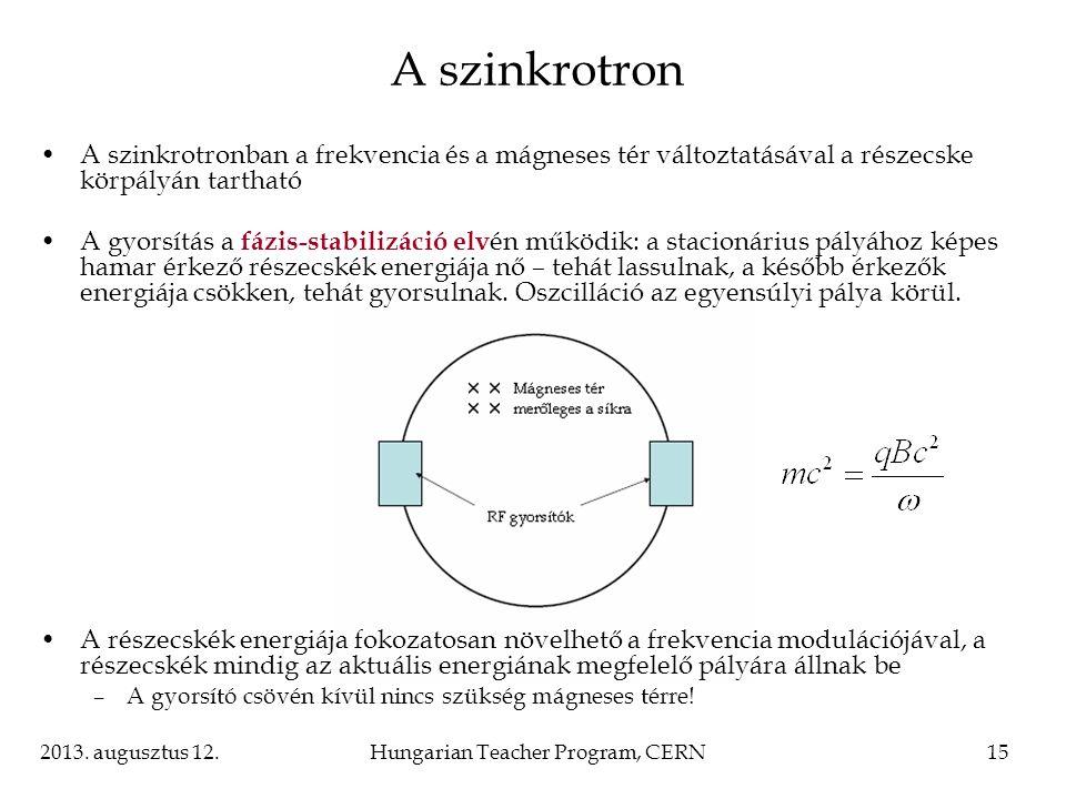 2013. augusztus 12.Hungarian Teacher Program, CERN15 A szinkrotronban a frekvencia és a mágneses tér változtatásával a részecske körpályán tartható A