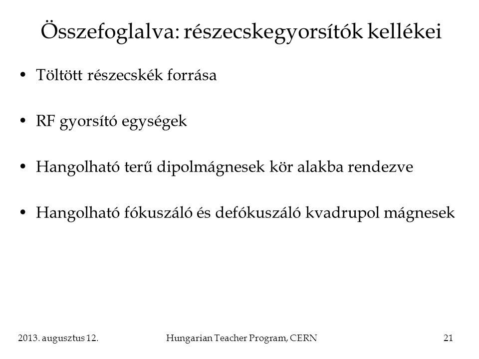2013. augusztus 12.Hungarian Teacher Program, CERN21 Összefoglalva: részecskegyorsítók kellékei Töltött részecskék forrása RF gyorsító egységek Hangol