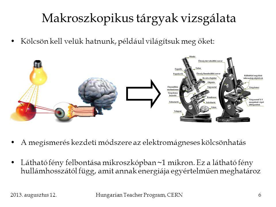 2013. augusztus 12.Hungarian Teacher Program, CERN6 Makroszkopikus tárgyak vizsgálata Kölcsön kell velük hatnunk, például világítsuk meg őket: A megis