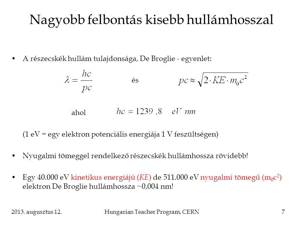 2013. augusztus 12.Hungarian Teacher Program, CERN7 Nagyobb felbontás kisebb hullámhosszal A részecskék hullám tulajdonsága, De Broglie - egyenlet: és