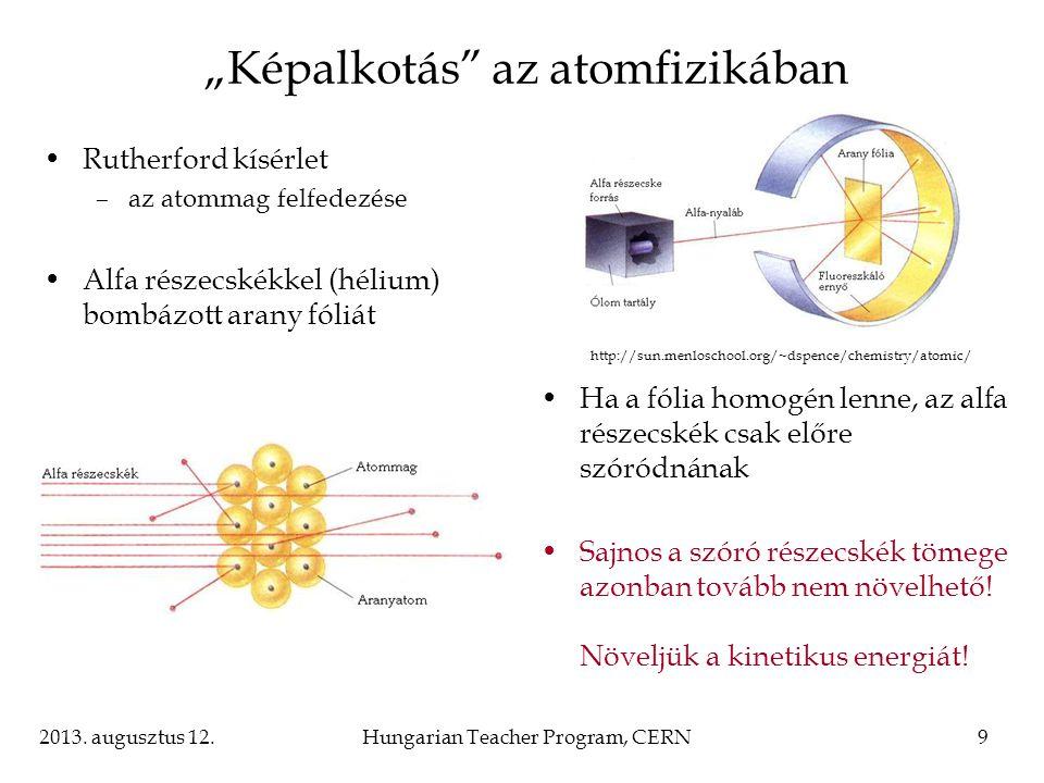 """2013. augusztus 12.Hungarian Teacher Program, CERN9 """"Képalkotás"""" az atomfizikában Rutherford kísérlet –az atommag felfedezése Alfa részecskékkel (héli"""