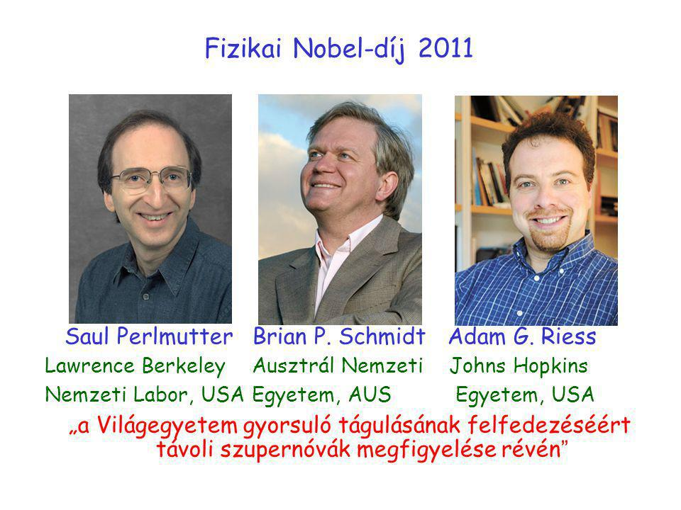Fizikai Nobel-díj 2011 Saul Perlmutter Brian P. Schmidt Adam G. Riess Lawrence Berkeley Ausztrál Nemzeti Johns Hopkins Nemzeti Labor, USA Egyetem, AUS