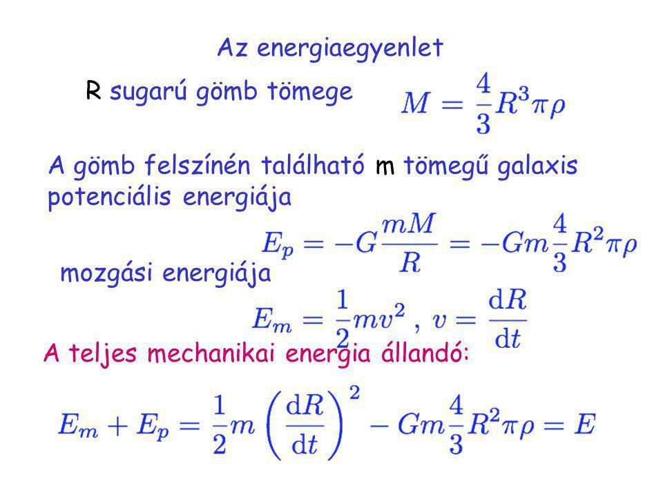Az energiaegyenlet R sugarú gömb tömege A gömb felszínén található m tömegű galaxis potenciális energiája mozgási energiája A teljes mechanikai energi