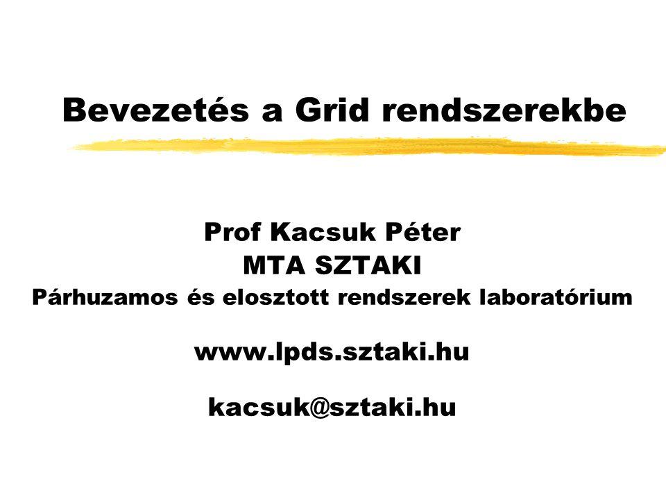 Bevezetés a Grid rendszerekbe Prof Kacsuk Péter MTA SZTAKI Párhuzamos és elosztott rendszerek laboratórium www.lpds.sztaki.hu kacsuk@sztaki.hu